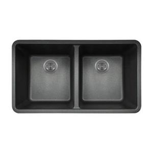 MR Direct TruGranite Double Equal Bowl Kitchen Sink,802-Blac