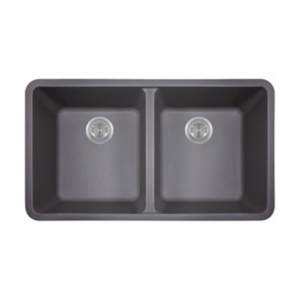 MR Direct TruGranite Double Equal Bowl Kitchen Sink,802-Silv