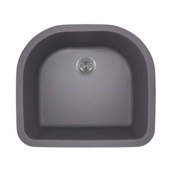 MR Direct TruGranite D-Bowl Kitchen Sink,824-Silver
