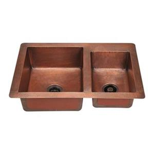 MR Direct Double Offset Bowl Copper Sink,901