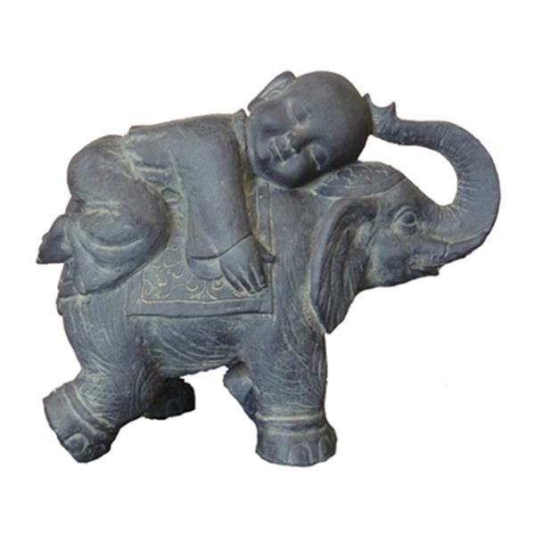 Hi-Line Gift 76326 Buddha Child on Elephant Garden Statue,76