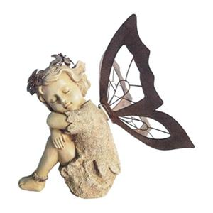 Hi-Line Gift 77638WS Sitting and Sleeping Fairy with Metal W