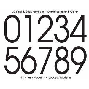 Modern Style Self-Adhesive 4-in Numbers Kit, Black