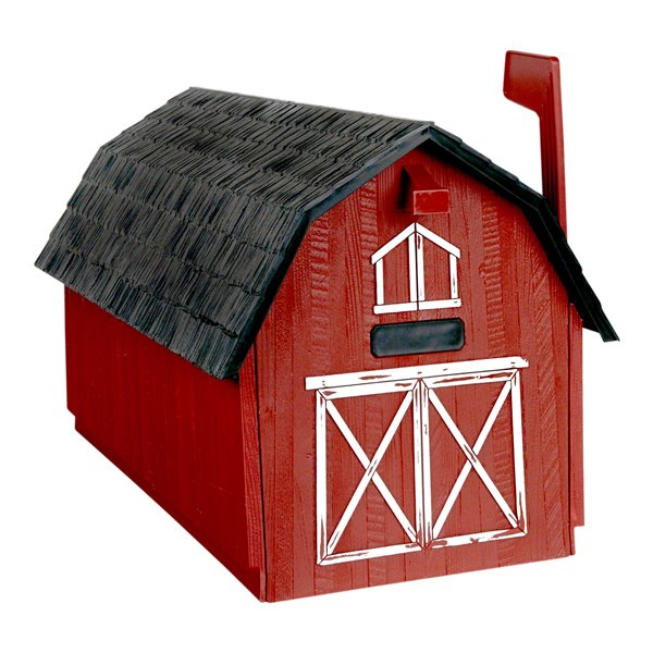 Barn Post Mount curbside Mailbox, Red