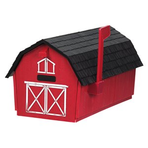 Boîte aux lettres pour poteau en forme de grange, rouge