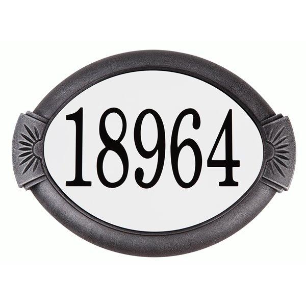 Plaque d'adresse classique en fonte d'aluminium, argent suédois