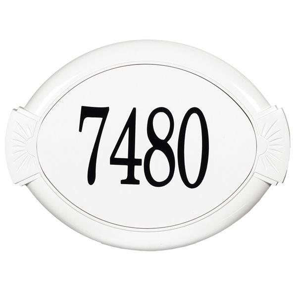 Plaque d'adresse classique en fonte d'aluminium, blanc