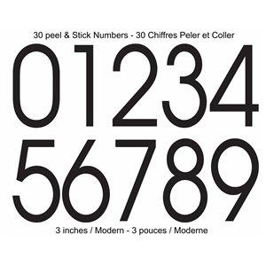 Modern Style Self-Adhesive 3-in Numbers Kit, Black