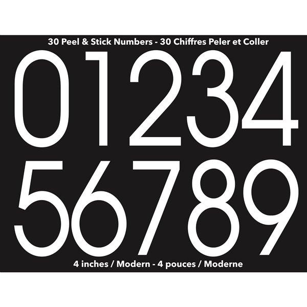 Ensemble de chiffres de 4 po auto-adhésifs de style moderne, blanc