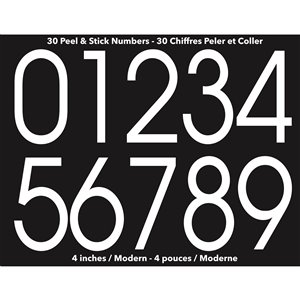 Modern Style Self-Adhesive 4-in Numbers Kit, White