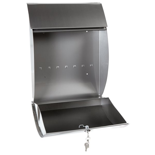 Contemporary Locking Wall Mount Mailbox, Stainless Steel