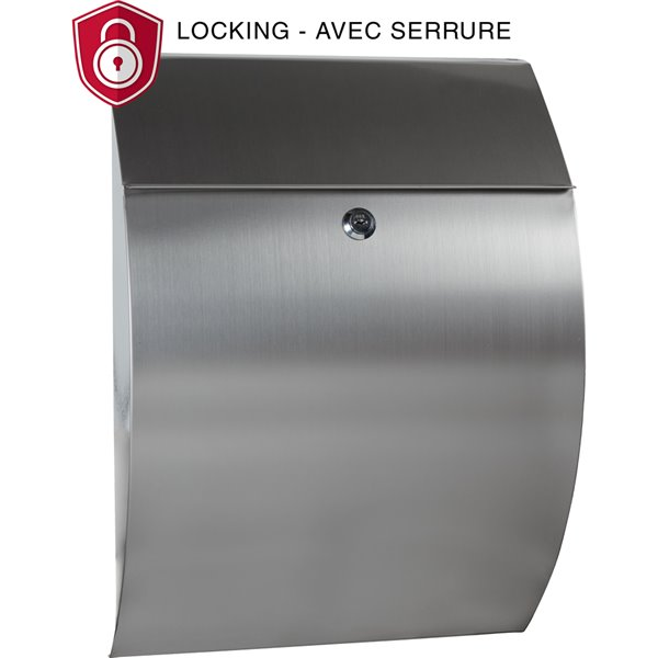 Pro Df Contemporary Locking Wall Mount Mailbox Stainless Steel Ms26908 Rona