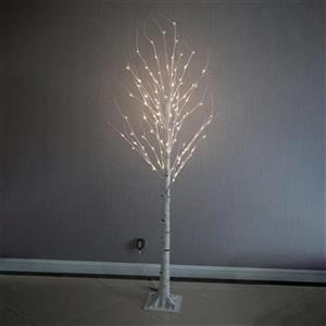 Hi-Line Gift Tall Artificial Birch Tree with 120 LED Lights,