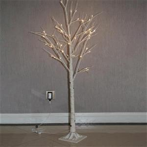 Hi-Line Gift Artificial Birch Tree with 48-LED Lights,37431-