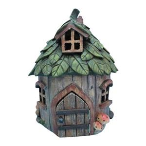 Hi-Line Gift Fairy Garden House with Leaf Roof,72042-14