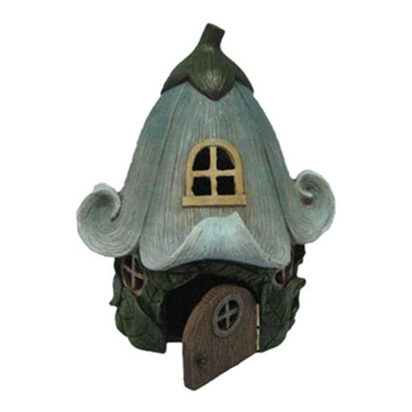 Hi-Line Gift Fairy Garden House with Lily Flower Roof,72042-