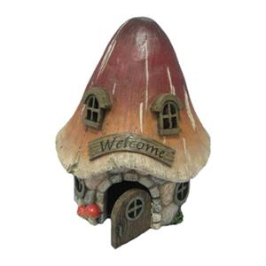 Hi-Line Gift Fairy Garden Mushroom House with Welcome,72042-