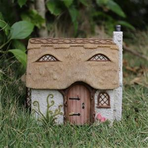 Hi-Line Gift Fairy Garden Cottage with Thatched Roof,72042-2