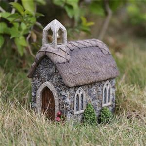 Hi-Line Gift Fairy Garden Church with Thatched Roof,72042-25