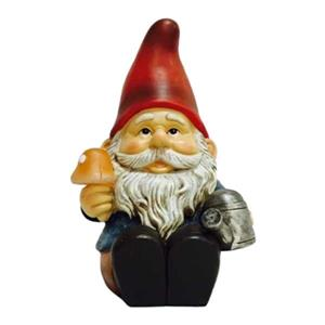 Hi-Line Gift Solar LED Gnome Sitting with Watering Can and G