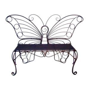 Hi-Line Gift Metal Butterfly Garden Bench,78620-BK