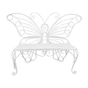 Hi-Line Gift Metal Butterfly Garden Bench,78620-WT