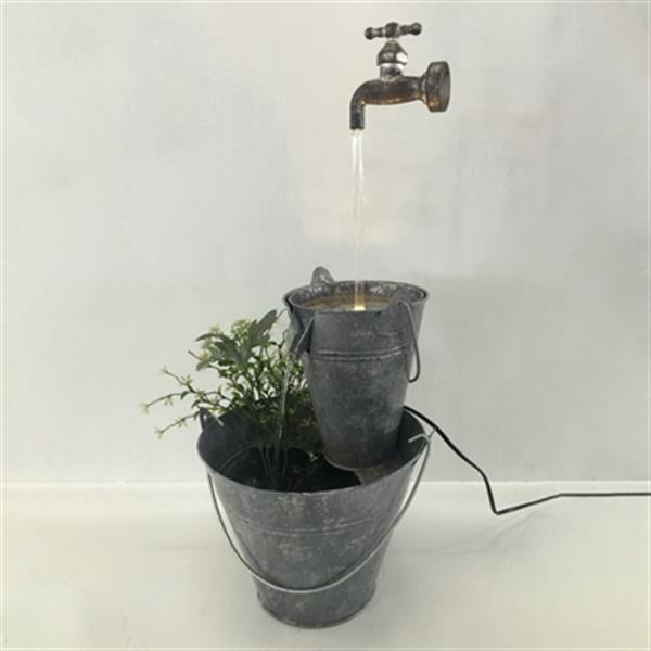 Hi-Line Gift Tap Fountain with Zinc Metal Pails and LED Ligh