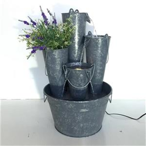 Hi-Line Gift Large Fountain with Zinc Metal Pails and LED Li