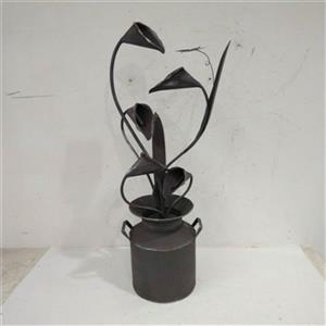 Hi-Line Gift Metal Calla Lily Fountain with Leaves in a Jug,