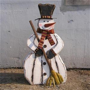 Hi-Line Gift Wooden Snowman With Broom,85255-A