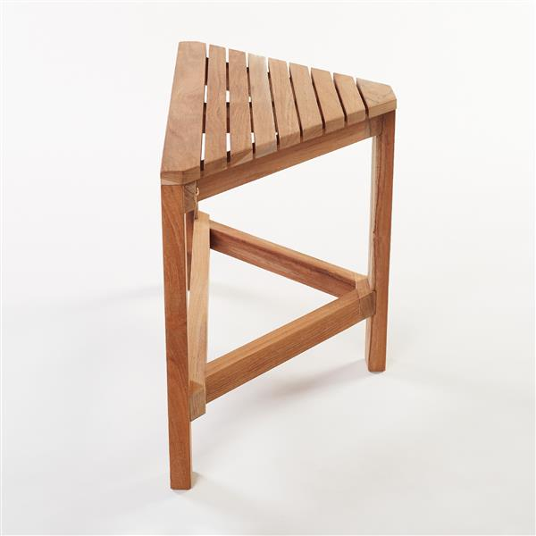 "Gala Teak Corner Shower Bench - 24"" - Teak - Natural Wood"