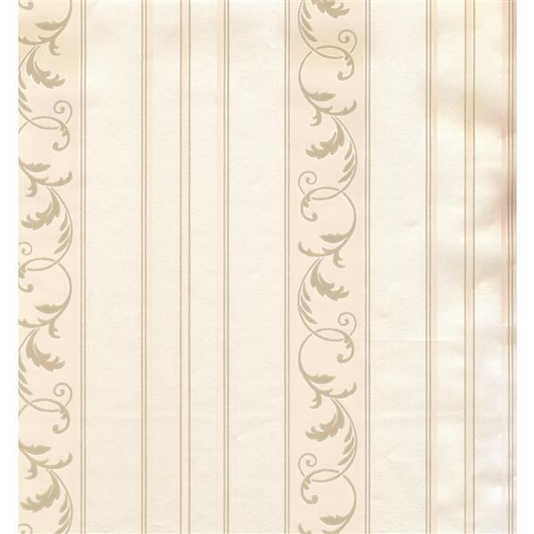 York Wallcoverings Stripes Modern Wallpaper - Cream/Light Green