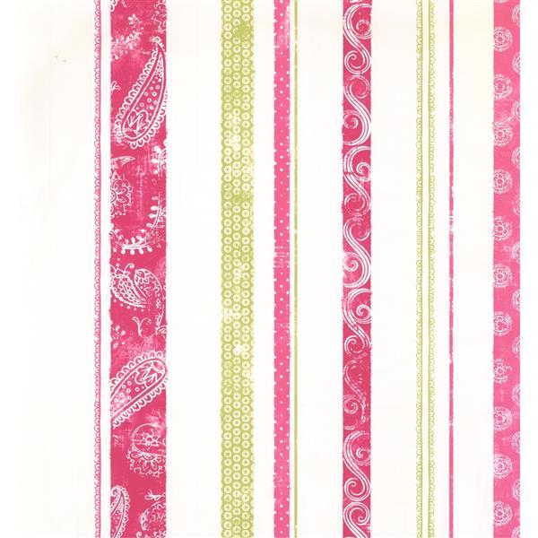 York Wallcoverings Stripes Modern Wallpaper - Cream/Red