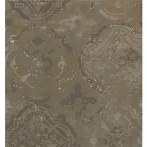 York Wallcoverings Paisley Modern Wallpaper - Green/Grey