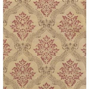 York Wallcoverings Paisley Modern Wallpaper - Beige/Bordo