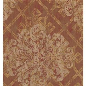 York Wallcoverings Paisley Modern Wallpaper - Cream/Bordo