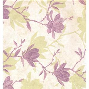 Floral Colourful Wallpaper - Cream/Violet