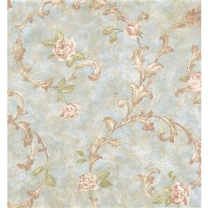 York Wallcoverings Floral Colourful Wallpaper - Beige/Blue