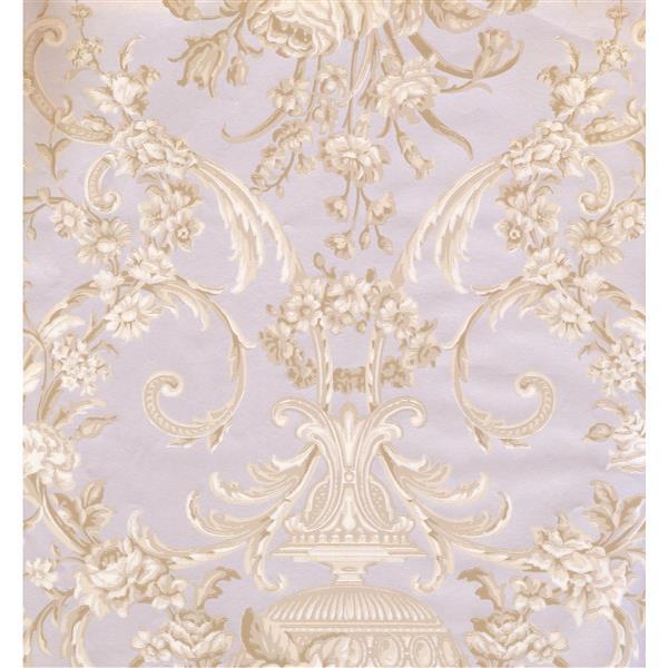 York Wallcoverings Floral Colourful Wallpaper - Beige/Violet