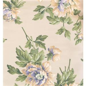 Floral Colourful Wallpaper - Cream/Green