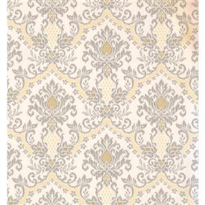 Damask Traditional Wallpaper - Cream/Grey