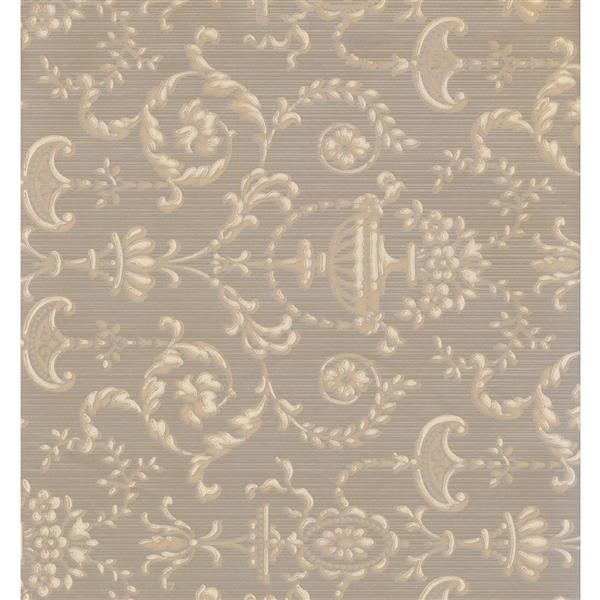 York Wallcoverings Damask Traditional Wallpaper - Beige/Grey