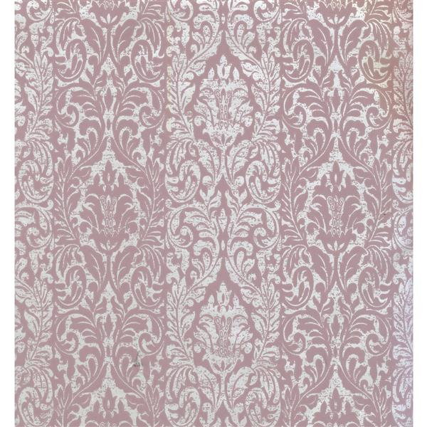 York Wallcoverings Damask Traditional Wallpaper - White/Pink
