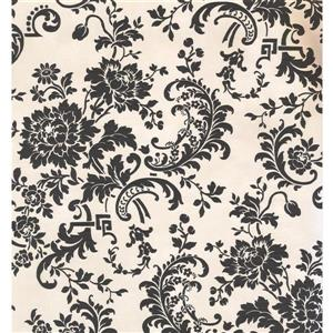 Damask Traditional Wallpaper - Cream/Black