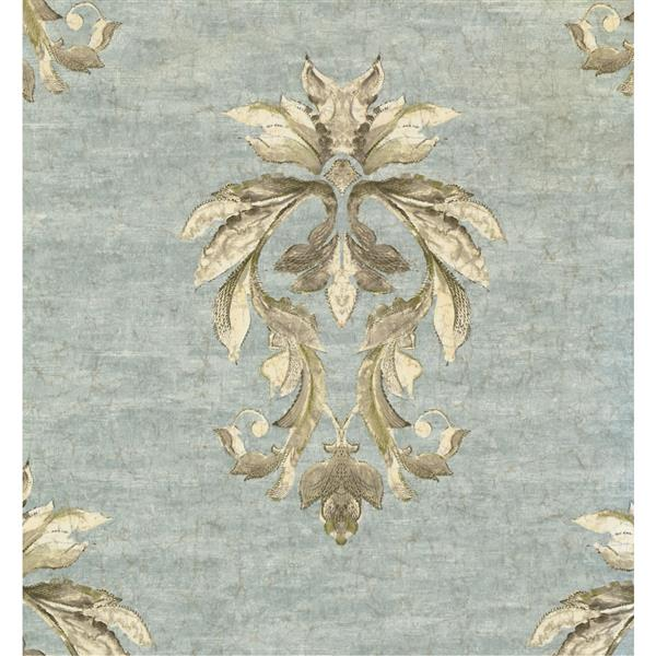 York Wallcoverings Damask Traditional Wallpaper - Blue/Cream