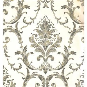 York Wallcoverings Damask Traditional Wallpaper - Cream/Grey