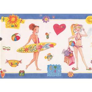 Retro Art Girls Beach Wallpaper Border - White/Blue