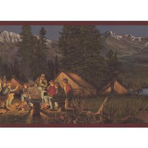Retro Art Mountain Night Camp Wallpaper