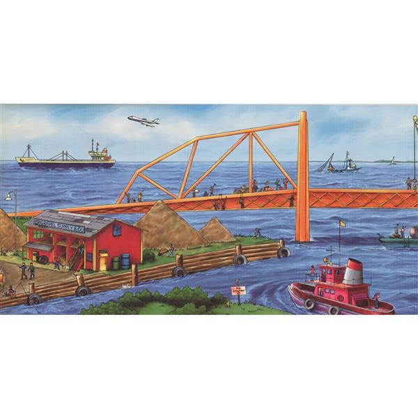 Retro Art Construction Project Panorama Wallpaper