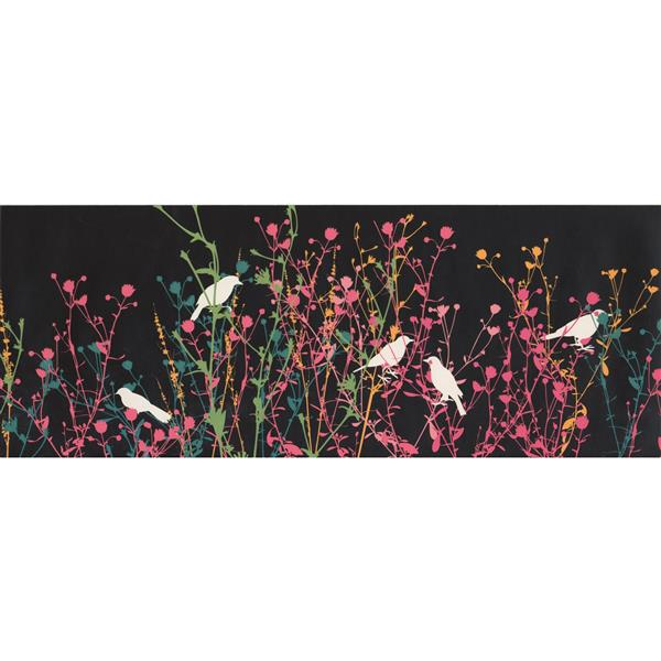 Retro Art Birds and Shrubs Wallpaper - Charcoal Grey